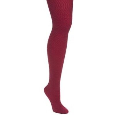 5eb847d7a5bce HUE Tights Sz S/M Beet Red Diamond Texture Tights W/ Control Top 16757