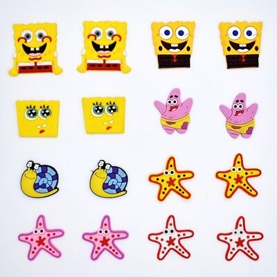 16pcs Sponge Bob Shoe Charms Fits Jibbitz Clog sandal Shoes & Bands Wristband