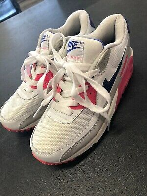 detailed look e1de5 13f72 Women s Nike Air Max 90 Size US 8 White Blue And Pink Non Marking Soles