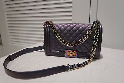 2f8ba3e0edfc Chanel Mermaid Purple Iridescent Boy Bag Medium Goatskin Leather Rainbow