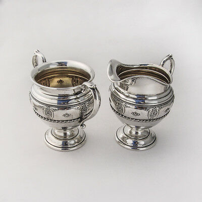 Rose Point Creamer and Sugar Bowl Sterling Silver Wallace