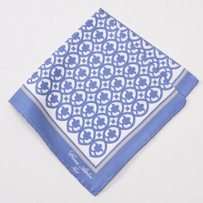 NWT CESARE ATTOLINI NAPOLI Blue Paisley Lightweight Cotton-Silk Pocket Square
