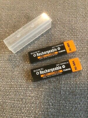 Rare Sony Original NH-14WM NiMH 1.2V 900mAh Rechargeable Gumstick Battery X2