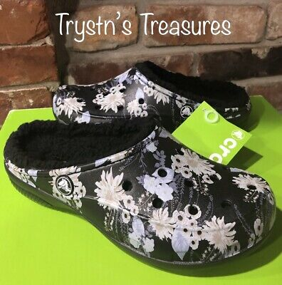5a81525f4 CROCS WOMEN S FREESAIL Graphic Lined Clog MULES Black Floral US Size ...