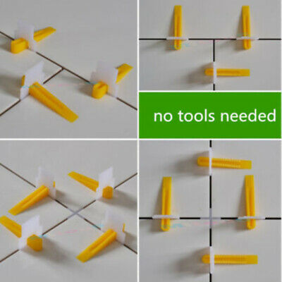 100/200pcs Clips & Wedges Tile leveling system floor spacers Home Improvement