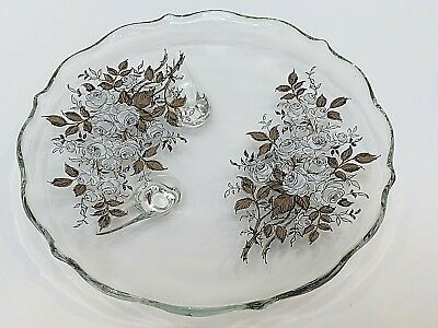 "Unbranded FOOTED ROUND DISH Clear Glass with White Roses Scalloped Edge 7.5"" D"