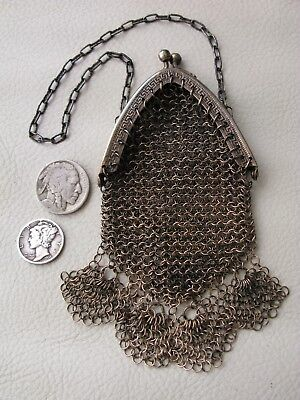 Antique Victorian Brass GREEK KEY Chatelaine French Doll Mesh Coin Purse GERMANY