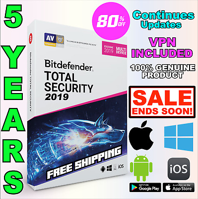 Bitdefender Total Security 2019 - 5 Anni Years Win Mac 1 Device Activation Top