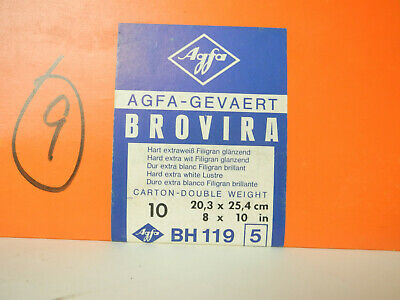 "Lot of 9 8"" x 10"" sheets of Agfa Brovira BN119 Grade 5 Print Paper"