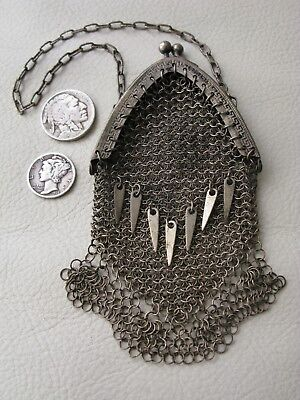 Antique Victorian Silver GREEK KEY Chatelaine Tassel Mesh Coin Purse GERMANY