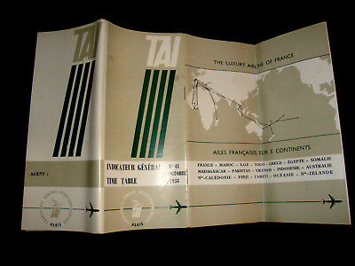 Tai Compagnie Transports Aeriens Intercontinentaux Timetable General 1958. N 41