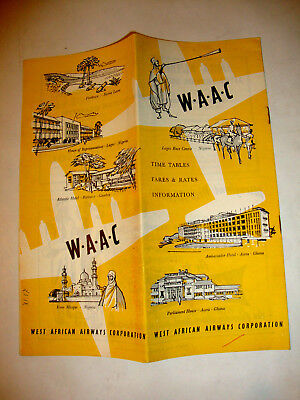 W.a.a.c West African Airways Timetable 1957.