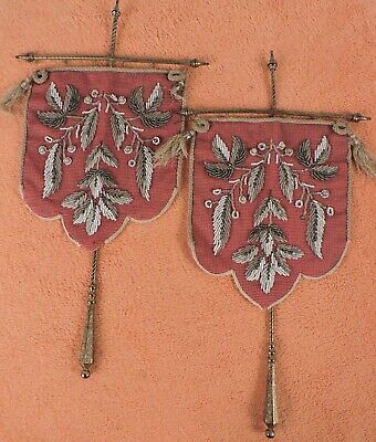Victorian 19Th C Beaded Fireplace Face Shield Pair W Ornate Metal Handles
