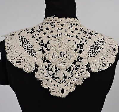 Antique Ornate Chemical Lace Collar For Dress