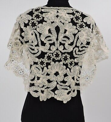 Unusual Victorian Tape Lace Cape For Dress W Metallic Lame Spider Web Stitch