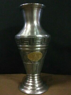 Beautiful HARD TO FIND Vtg. Greece Handmade Pure Pewter Greek Design Vase