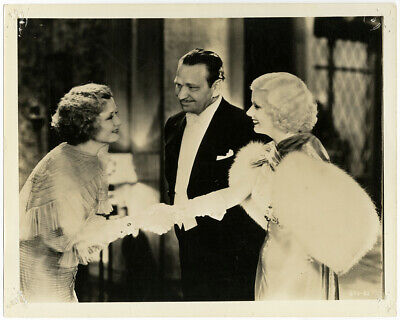 Jean Harlow, Wallace Beery, Billie Burke Dinner at Eight 1933 Vintage Photograph