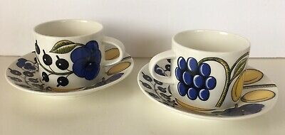 Pair Of Arabia Finland Paratiisi Cups And Saucers-Fabulous!