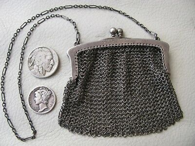 Antique STERLING SILVER Chatelaine Chain Mesh Coin Purse HELEN LOCKWOOD