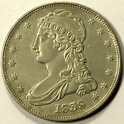 1838 Capped Bust Half Dollar, REEDED, Nice Strike, Better Date