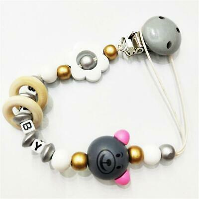 NWooden Baby Pacifier Clip Chain Holder Nipple Leash Strap Pacifier Soother LJ