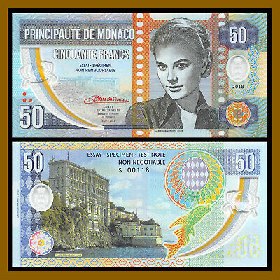 Grace Kelly of Monaco 50 Francs, 2018 Specimen Polymer Unc