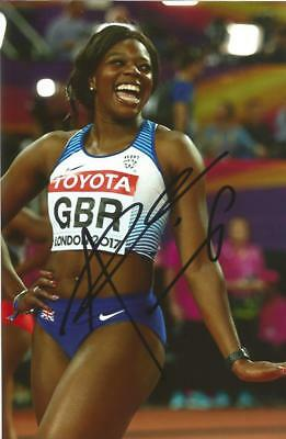 ATHLETICS: ASHA PHILIP SIGNED 6x4 LONDON 2017 ACTION PHOTO+COA *TEAM GB*