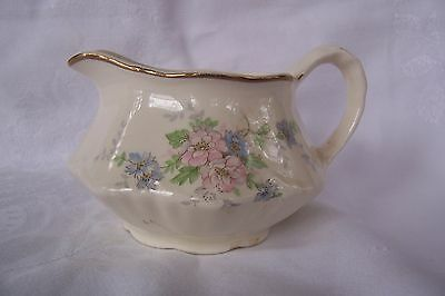 Vintage Homer Laughlin Creamer White with Pink and Blue flowers and Gold Trim