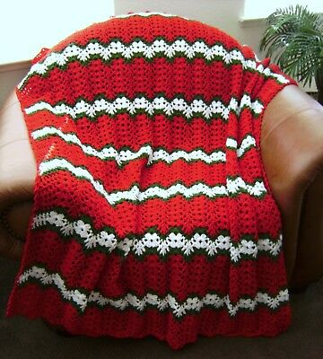 New Hand Crochet Christmas Red Green White Holiday Afghan Lap
