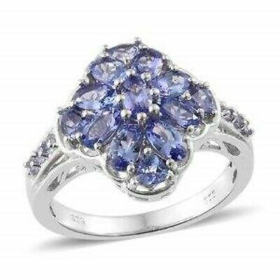Tanzanite, Platinum Over Sterling Silver Ring (Size 6.0) TGW 2.89 cts.