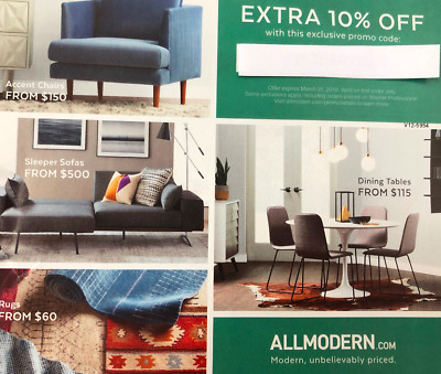 ALL MODERN UNIQUE PROMO CODE COUPON - EXTRA 10% OFF!! - HURRY!! -Exp 3/31/19