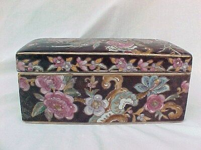 Asian Macau Chinese Ceramic Lidded Box With Flowers & Birds For Jewelry Trinkets