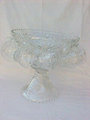 Vintage Anchor Hocking Early American Prescut Punch Bowl Set 27 Pieces #700/674
