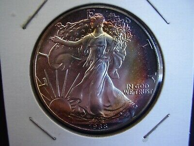 1988 American Silver Eagle Bu Premium Quality Gold Toning On Front/back Nice!