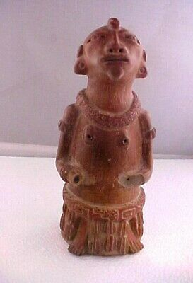 Pre-Columbian Type Figure - Diety?? Red Clay  7 Inches Tall  Age ??