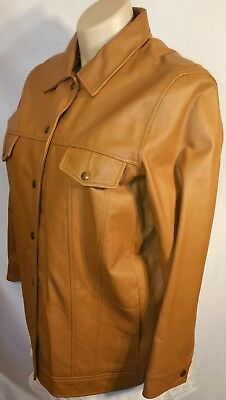 Terry Lewis Classic Luxury Leather Jacket Snaps Women's Size L Fur Lined Zip out