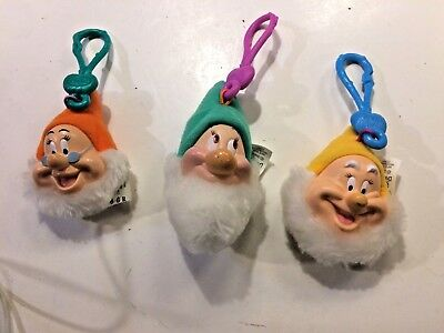 MCDONALD'S DISNEY HAPPY - BASHFUL - DOC - 7 DWARFS zipper pull key fob PLUSH TOY