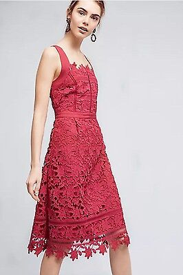 NWT NEW HD In Paris Anthropologie Mulberry Pink Lace Overlay Cross Back Dress 8