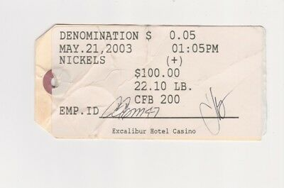 The Excalibur Hotel Casino Las Vegas NV Nickels Money Bag Tag From May 2003