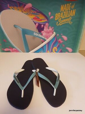a367965071700 HAVAIANAS NEW MENS THONGS FLIP FLOPS TOP MIX Navy Blue Mineral Blue Surf  Logo
