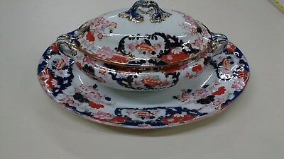 Booths England Royal Semi Porcelain New Chusan Gravy Dish, Lid and Oval Platter