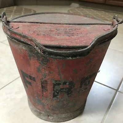 Very Rare Antique Mather & Platt Manchester England Fire Bucket W/ Lid