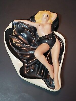 Large 10 Inch Nude Lady Ashtray Signed Alexander