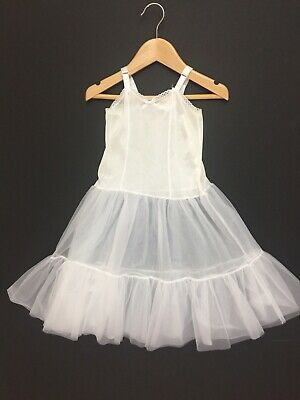 J.C. Collections Girls 4 White Slip Petticoat Nylon Adjustable Straps