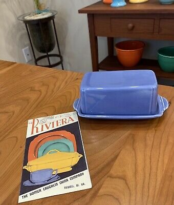 Vintage HLC Riviera Harlequin Fiesta Butter Dish Mauve Blue AND Brochure