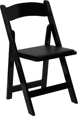 *Lot Of 10* New Black Stain Wood Folding Chair With Black Vinyl Padded Seat