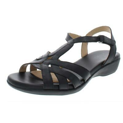 88c246c46c18 CLARKS WOMENS DELANA Liri Black Leather Wedges Sandals 8 Medium (B