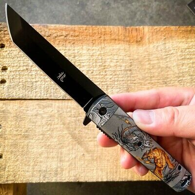 "8"" Hunting MOOSE Wildlife Tactical Spring Assisted RESCUE Folding Pocket Knife"
