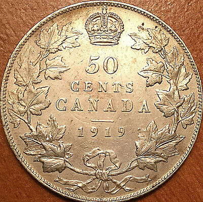 1919 CANADA SILVER 50 CENTS FIFTY CENTS HALF DOLLAR - Fantastic example!