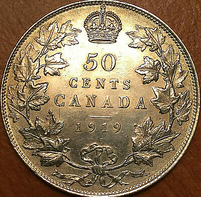 1919 CANADA SILVER 50 CENTS FIFTY CENTS HALF DOLLAR - Uncirculated details!